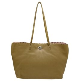 Fendi-Fendi Brown Selleria Carla Leather Tote Bag-Brown,Light brown