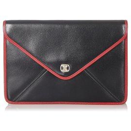 Céline-Celine Black Leather Clutch Bag-Black,Red