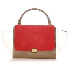 Céline-Celine Red Trapeze Tricolor Leather Handbag-Red,Multiple colors