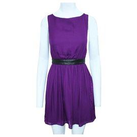 Alice + Olivia-Purple Silk Dress with Leather Belt-Purple