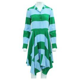 Stella Mc Cartney-Silk Flattering Striped Dress-Multiple colors