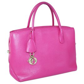 Dior-Open Bar Pink Leather Tote-Pink