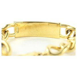 Dior-Gold Name Plate ID Curb Chain Link Bangle Bracelet-Other