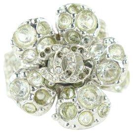 Chanel-05v Camellia Flower Ring Silver Crystal-Other