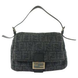 Fendi-Grey FF Monogram Zucca Baguette Mamma Flap Bag-Other