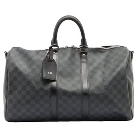 Louis Vuitton-Bandoulière noire Damier Graphite Keepall 45 sac de marin-Autre