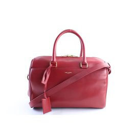 Saint Laurent-Red Duffle 6 hour 2way Boston Bag with Strap-Other