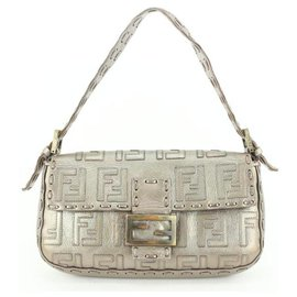 Fendi-Silver Whipstitch Embossed FF Leather Mama Baguette Flap Bag-Other