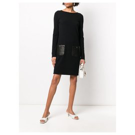 Chanel-Quilted Leather Pockets Dress-Black
