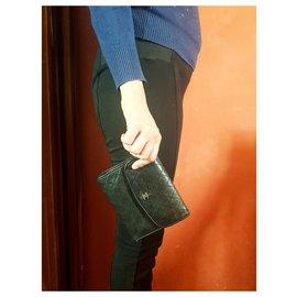 Chanel-Chanel wallet quilted wallet multi flap vintage black-Black