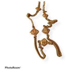 Chanel-CC motif long belt necklace-Gold hardware