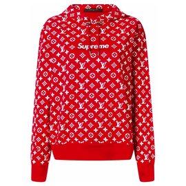 Louis Vuitton-Sweat à capuche RARE Vuitton/Supreme-Rouge
