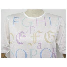 Hermès-NINE TSHIRT HERMES ALPHABET M 40 WOMAN IN WHITE COTTON COTTON WHITE SHIRT-White