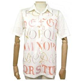 Hermès-NEUF TSHIRT HERMES ALPHABET M 40 POLO EN COTON BLANC COTTON WHITE SHIRT-Blanc