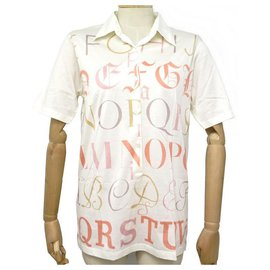Hermès-NINE TSHIRT HERMES ALPHABET M 40 WHITE COTTON POLO SHIRT COTTON WHITE SHIRT-White
