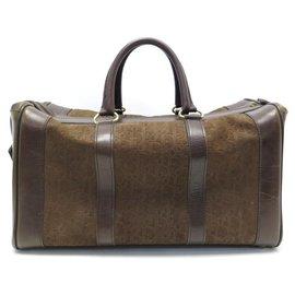Christian Dior-VINTAGE SAC A MAIN DE VOYAGE CHRISTIAN DIOR CUIR & DAIM  MONOGRAM OBLIQUE BAG-Marron