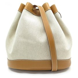 Hermès-VINTAGE SAC A MAIN HERMES SEAU MARKET BUCKET TOILE & CUIR GOLD HAND BAG-Beige