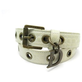 Christian Dior-CHRISTIAN DIOR BELT SIZE 85 IN WHITE CREAM CANNAGE LEATHER BELT-Cream