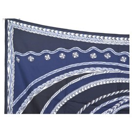 Hermès-NEW HERMES SCARF MANLIK EVENING DRESS IN SILK EMBROIDERED BEADED SCARF PEARLS NEW-Navy blue