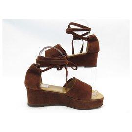 Hermès-NEW HERMES SHOES WEDGE SANDALS 36.5 BROWN SUEDE BOX SHOES-Brown