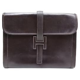 Hermès-VINTAGE POCHETTE A MAIN HERMES JIGE GM CUIR MARRON BROWN LEATHER HAND BAG-Marron