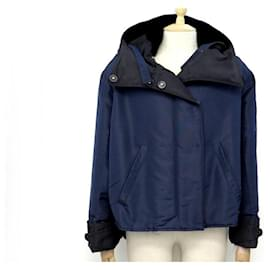 Prada-MANTEAU PRADA 290391 38 IT 34 FR S EN POLYESTER BLEU COL VISON COAT-Bleu