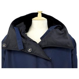 Prada-Prada coat 290391 38 It 34 FR S IN BLUE POLYESTER MINK COLLAR COAT-Blue