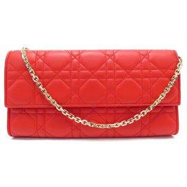Christian Dior-NEUF SAC A MAIN CHRISTIAN DIOR POCHETTE LADY WOC EN CUIR CANNAGE ROUGE BAG-Rouge