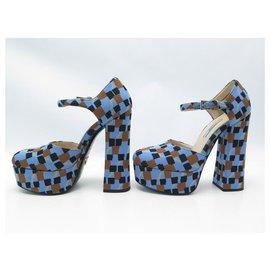 Prada-NEW PRADA JACQUARD DAMIER PUMPS 1IP314 36 It 37 FR CANVAS + BOX SHOES-Blue
