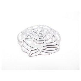 Chanel-CHANEL CAMELIA BROOCH IN SOLID SILVER 23.2 GR + STERLING SILVER BROOCH BOX-Silvery