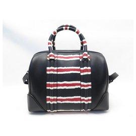 Givenchy-NEUF SAC A MAIN GIVENCHY LUCREZIA MEDIUM EN CUIR NOIR ET RAYURES HAND BAG-Noir