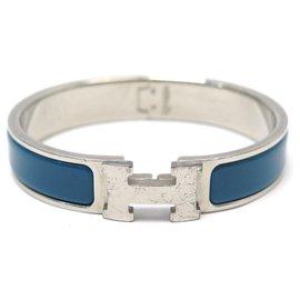 Hermès-HERMES CLIC H PM T BRACELET16 IN BLUE & PALLADY ENAMEL + JEWEL ENAMEL BOX-Blue