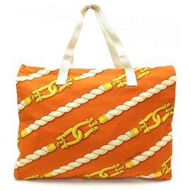 Hermès-NEW HERMES MANILA HANDBAG ORANGE COTTON CANVAS TOTE BAG-Orange