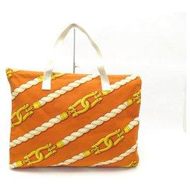 Hermès-NEUF SAC A MAIN HERMES MANILLE CABAS DE PLAGE COTON TOILE ORANGE TOTE BAG-Orange