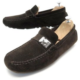 Louis Vuitton-NEW LOUIS VUITTON LOAFERS 9 43 SMALL TRUNK CLASP LOAFERS-Brown