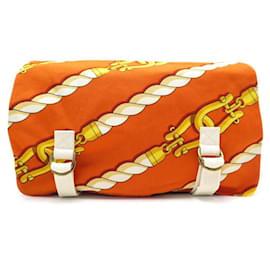 Hermès-NEUF SAC POCHETTE HERMES TROUSSE DE TOILETTE MANILLE TOILE COTON ORANGE POUCH-Orange
