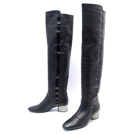 Chanel-CHANEL SHOES G THIGH BOOTS25874 38.5 BLACK LEATHER BOOTS SHOES-Black