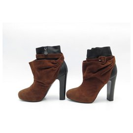 Hermès-HERMES ANKLE BOOTS 39 IN TWO-TONE LEATHER AND SUEDE + BOOTS SHOES BOX-Other