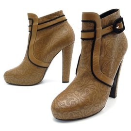 Hermès-HERMES ANKLE BOOTS H MOTIFS 39 IN MARRTON LEATHER + BOOTS SHOES BOX-Brown