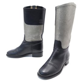Chanel-CHANEL BOOTS G28488 37.5 BLACK & SILVER LEATHER BOOTS SHOES-Other