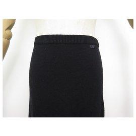 Chanel-NEW CHANEL P RUFFLED SKIRT16491 M 40 IN BLACK CASHMERE SKIRT-Black