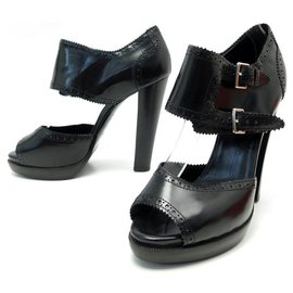 Hermès-HERMES SHOES SANDALS WITH BUCKLES WITH HEELS 39 BLACK LEATHER + SHOES BOX-Black