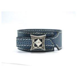 Hermès-NEW HERMES BRACELET TOUAREG BUCKLE SILVER T18 LIZARD BLUE LEATHER-Blue