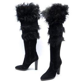 Hermès-HERMES BOOTS RAYA SHOES 39 BLACK SUEDE FUR SUEDE BOOTS SHOES-Black