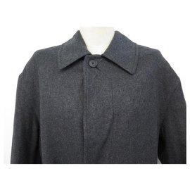 Hermès-NEW HERMES PT LONG COAT92DBA L 52 GRAY WOOL COTTON NEW COAT JACKET-Grey