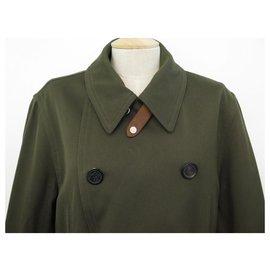 Hermès-HERMES JACKET MILITARY GABARDINE PARKA 50 M IN KHAKI COTTON COAT JACKET-Khaki