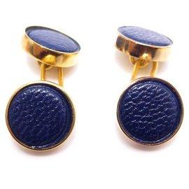 Hermès-HERMES ROUND GOLD & GOAT LEATHER MYSORE BLUE CUFFLINKS CUFFLINKS-Golden