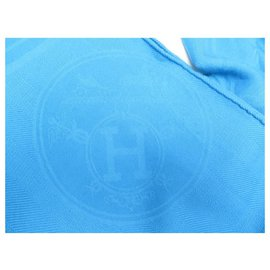 Hermès-HERMES NEW LIBRIS STOLE IN CASHMERE AND TURQUOISE SILK CHALE SCARF SCARF-Turquoise