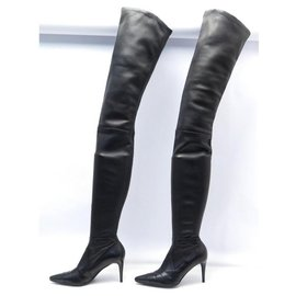 Chanel-CHANEL SHOES WHEEL BOOTS WITH HEELS 36 BLACK LEATHER + BOOTS BOX-Black