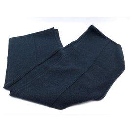Hermès-NEW HOODED SCARF HERMES VACK NAVY BLUE YACK WOOL 120CM NEW WOOL SCARF-Navy blue